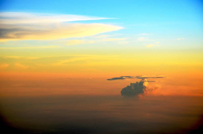 飞机上的日落 - 问摄影